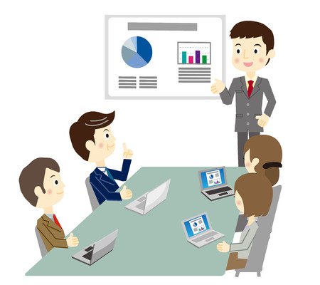 business meeting laptop: Business team during a meeting Illustration