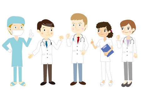 equipe medica: Squadra cure mediche Vettoriali