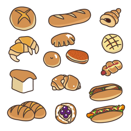 Various types of bread illustration