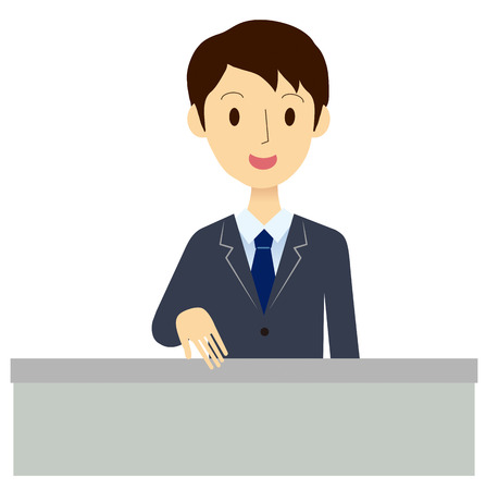 introduces: Man of the reception desk Illustration