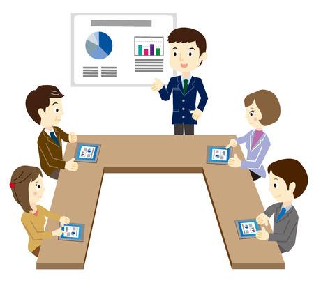 Business team in de vergadering met behulp van een tablet-terminal Stock Illustratie