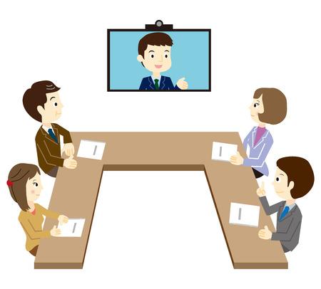 Business team dat een tv-conferentie heeft