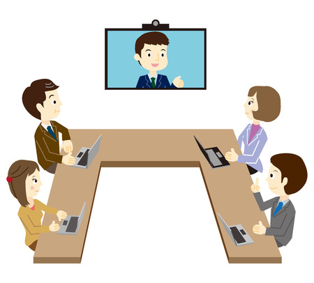 Business team that has a TV conference