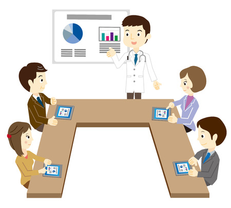 white coat: Business team that has a white coat of a man and a meeting