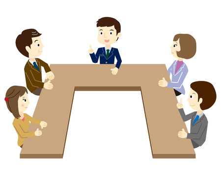 committee: People who have a meeting Illustration