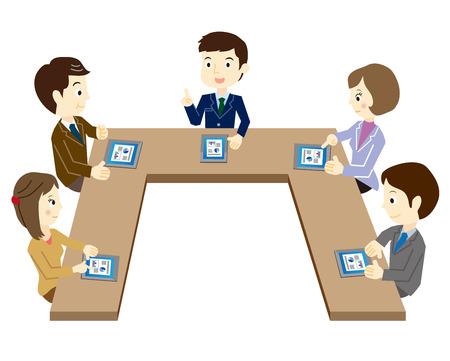 comit� d entreprise: Business team lors de la r�union en utilisant un terminal de la tablette