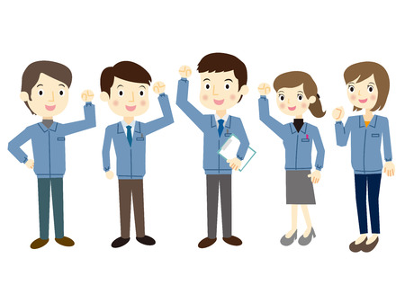 fist pump: People dressed in work clothes, fist pump