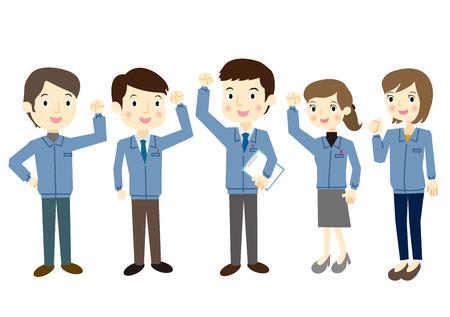 subordinates: People dressed in work clothes, fist pump