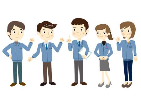 Mensen gekleed in werkkleding