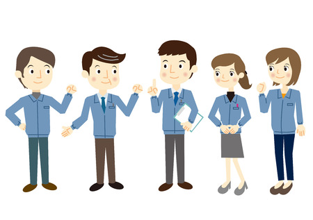 People dressed in work clothes Illustration