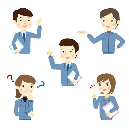 Mannelijke en vrouwelijke werknemers van meningsuiting