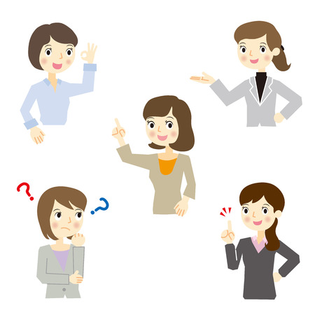 Business woman expression set Illustration