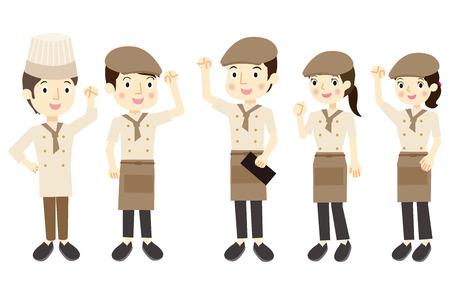 Cafe Personeel Stock Illustratie