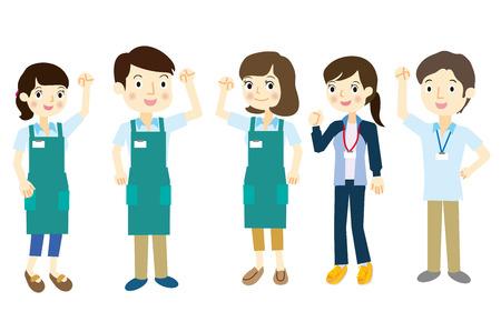 staff team: Staff team dressed in apron