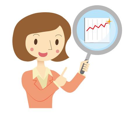 Zaken vrouw op de financiële beoordelen