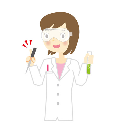 Woman researcher of white coat
