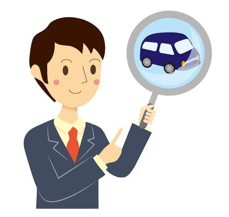 Zakenman Car Assessment Stock Illustratie
