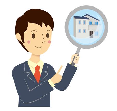 Businessman real estate assessment Stock Illustratie