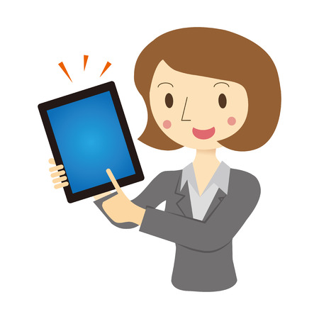 vrouw met tablet: Vrouw beschreven in tablet terminal Stock Illustratie