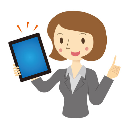 woman tablet: Woman described in tablet terminal Illustration