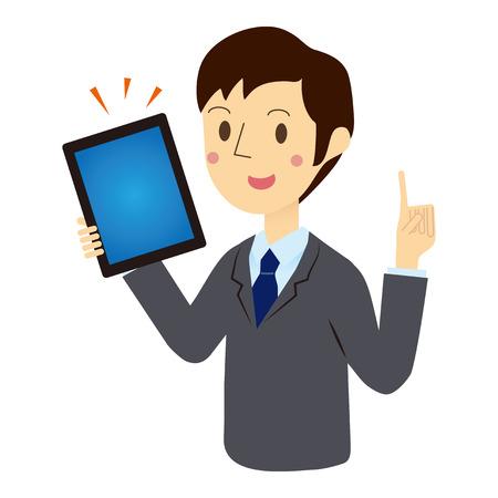 described: Businessman described in tablet terminal