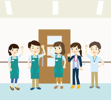 staff team: Staff team dressed in aprons