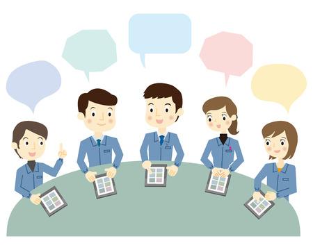 Werknemers op een vergadering met behulp van de tablet terminal Stock Illustratie