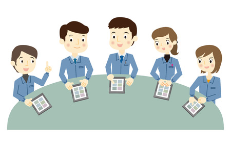 Los trabajadores a una reunión utilizando el terminal de la tableta Foto de archivo - 41856084