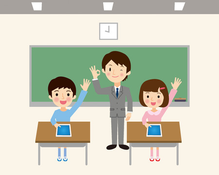 class room: Students to learn in a tablet Illustration