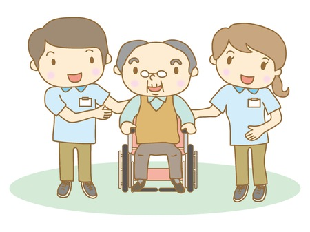 Elderly people and rehabilitation staff