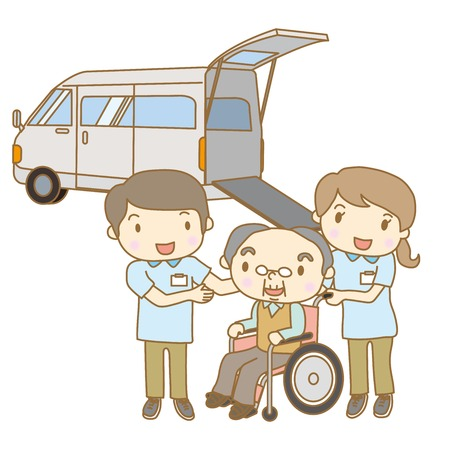 fullbody: Nursing care staff to pick up and transfer the elderly Illustration