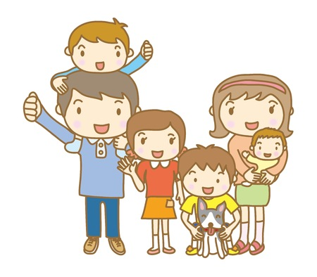 There are six people in the family Illustration