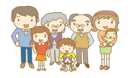 asian family: There are seven people in the family Illustration