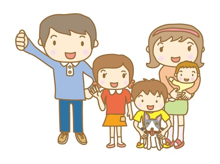 There are five people in the family Illustration