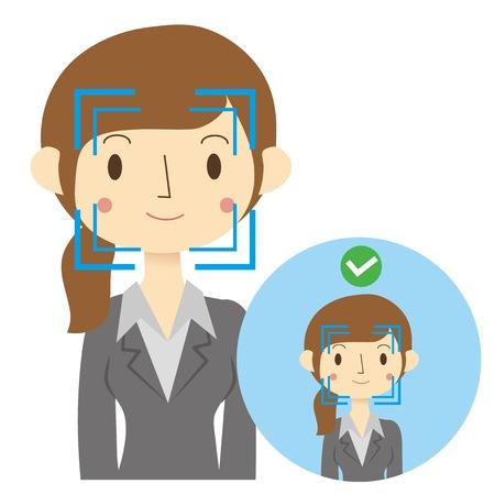 顔認証システムの承認イメージ  イラスト・ベクター素材