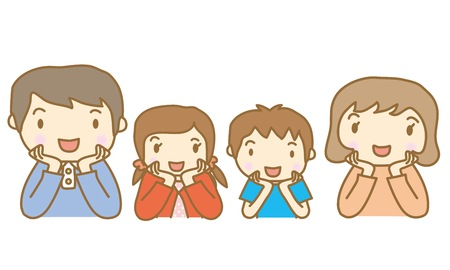 ones: Family of illustrations rest ones chin in ones hands Illustration
