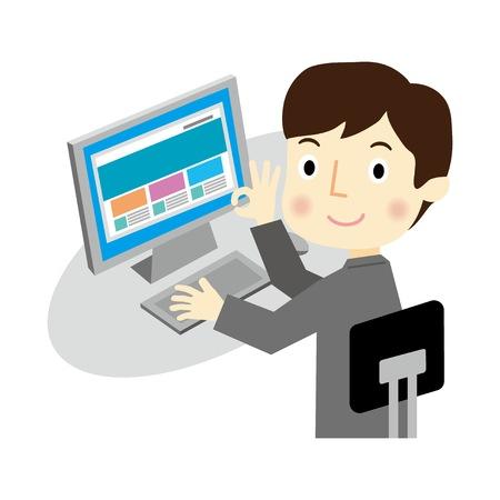 Een zakenman die een desktop PC exploiteert Stock Illustratie
