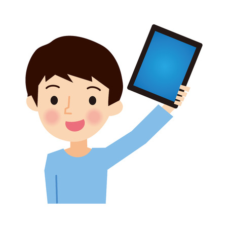 Boy with a Tablet Stock Illustratie