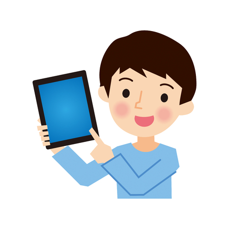 obtained: Boy with a Tablet Illustration