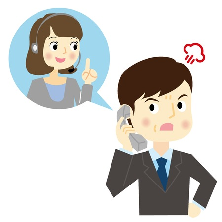 man: Man calling a claim to a call center Illustration