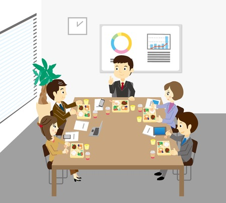 The people who have a lunch meeting Ilustração
