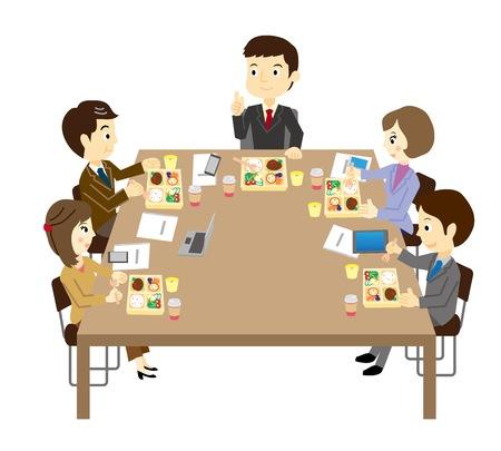 점심 모임을 가진 사람들 일러스트