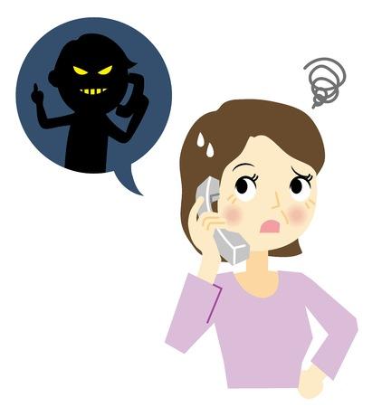 Vrouw die een criminele telefoon ontvangt Stock Illustratie