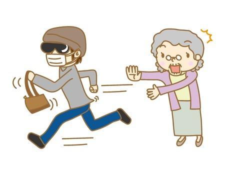 Senior woman suffering snatcher damage Illustration