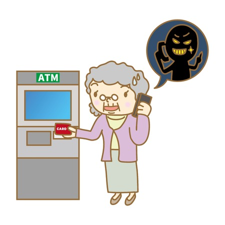 Senior woman calling in front of ATM