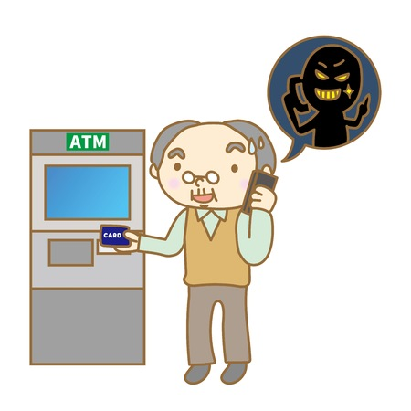 Senior man calling in front of ATM Stock Vector - 82146737