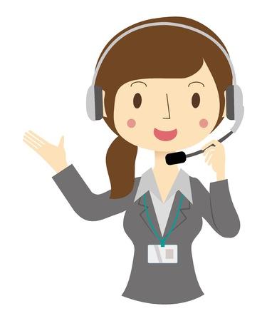 Woman operator of call center Illustration