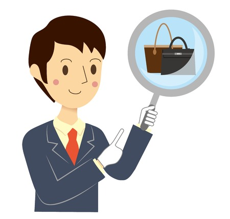 Businessman who assesses the bag