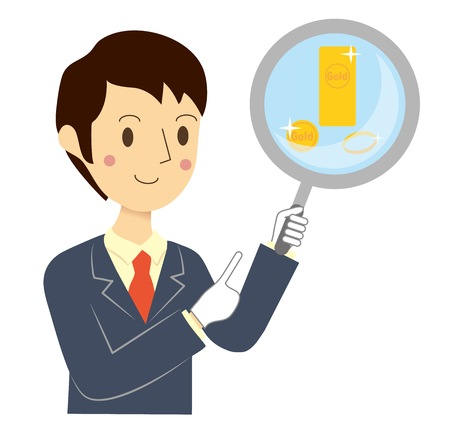 Businessman who assesses gold Stock Vector - 86942093