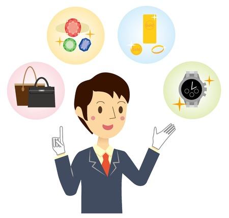 Businessman who assesses brand name Illustration